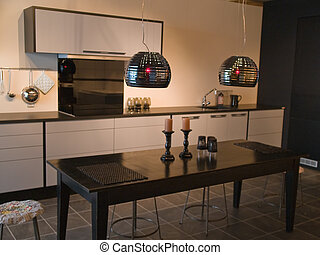 Diseño moderno de cocina en blanco y negro