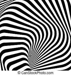 Diseño monocromo whirlpool movimiento de fondo de ilusión. Líneas de franjas abstractas de torsión. Ilustración Vector-art