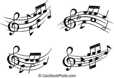 Diseño musical en estilo garabato