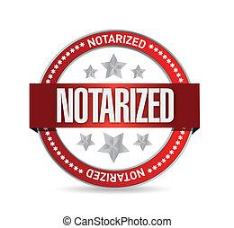 diseño, notarized, ilustración, sello