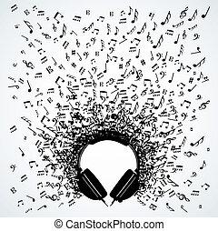 diseño, notas, auriculares, música, aislado