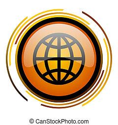 Diseño orbital de color naranja brillante icono web