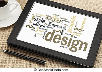 diseño, palabra, nube, gráfico