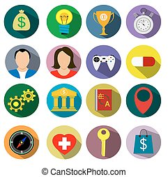 Diseño plano actual de los iconos de ilustración de vectores establecidos