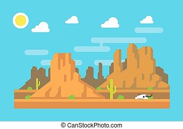 Diseño plano de la montaña Wild West Arizona