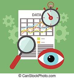 Diseño plano de los iconos vectores modernos de ilustración conjunto de búsqueda, sitio web SEO optimización, proceso de programación y elementos de análisis web. Aislado en un fondo de color estilizado