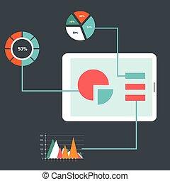 Diseño plano de los iconos vectores modernos de ilustración conjunto de web de optimización SEO, proceso de programación y elementos analíticos web. Aislado en un fondo de color estilizado