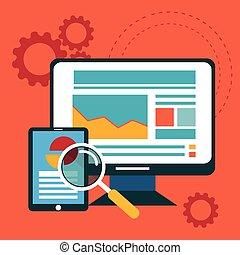 Diseño plano de los iconos vectoriales modernos de ilustración conjunto de web de optimización SEO, proceso de programación y elementos de analítica web. Aislado en un fondo de color estilizado