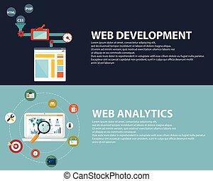 Diseño plano de los iconos vectoriales modernos de ilustración conjunto de web de optimización SEO, analíticos y proceso de programación de desarrollo. Aislado en un fondo de color estilizado