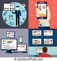 Diseño plano de los iconos vectoriales modernos de ilustración conjunto de web SEO optimización, proceso de programación y elementos analíticos. Aislado en un fondo de color estilizado