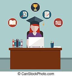 Diseño plano de vectores modernos iconos de ilustración conjunto de la educación de distancia y aprendizaje electrónico