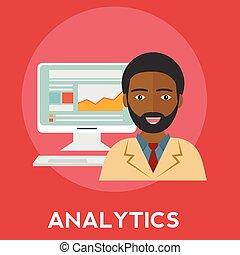 Diseño plano moderno concepto de ilustración vectorial del sitio web analíticos busca información y análisis computarizado usando dispositivos electrónicos y móviles modernos. Aislado con estilo
