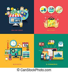 Diseño plano para e-commerce, entrega, compras online, negocios
