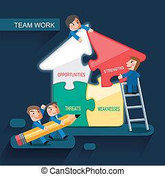 Diseño plano para el concepto de trabajo en equipo