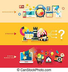Diseño plano para la gestión, estrategia y marketing digital