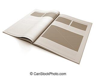 diseño, revista, disposición, página, blanco