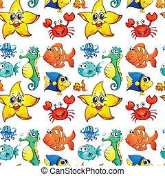 Diseño sin costura con criaturas marinas