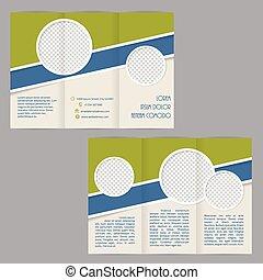 Diseño tri-pliegado de folletos con elementos planos
