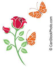 Diseño vector de flores y mantequilla
