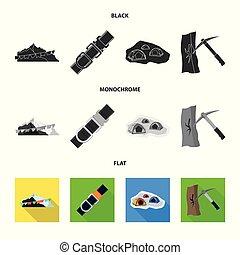 Diseño vector de montañismo y icono pico. Colección de montañismo y ilustración de vectores del campo.