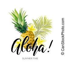 Diseño vectorical con hojas de palma verde, flores de ciruela, piñas y la inscripción de Aloha. Ilustración hawaiana de verano.