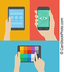 Diseño web móvil de ilustración plana