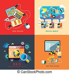 Diseño web plano, seo, redes sociales, paga por clic