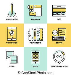 Diseño web y desarrollo iconos de línea plana