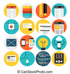 Diseño web y desarrollo iconos planos