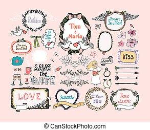 Diseños a mano dibujados para la decoración de las invitaciones de boda