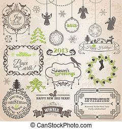 Diseños caligráficos de Navidad y decoración de páginas, marcos antiguos