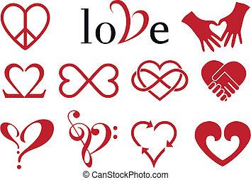 diseños, corazón, resumen, vector, conjunto