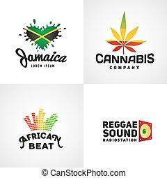 Diseños de logo de vectores de rasta africano. La plantilla musical de Jamaica reggae. Colorido concepto de la compañía cannabis