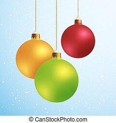 Diseños decorativos elementos de las bolas de Navidad aisladas en el fondo de nieve azul.