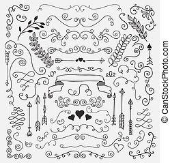 Diseños florales rústicos dibujados a mano