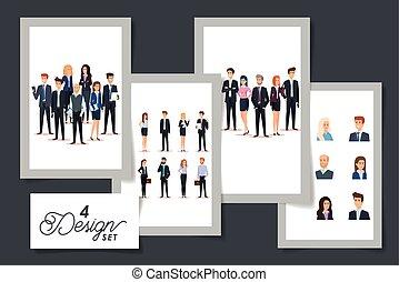 diseños, grupo, gente, conjunto, empresa / negocio, cuatro