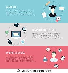 Diseños planos de vectores modernos iconos de ilustración establecidos de distancia aprendizaje y cursos en línea, escuela de negocios
