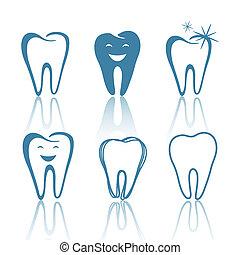 diseños, vector, dientes