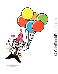 Disfrutando de la fiesta de cumpleaños - retro dibujos animados padre viejo jefe ilustración vectorial