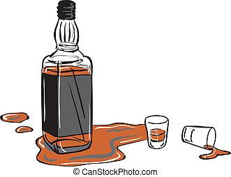 disparo whisky, botella, anteojos
