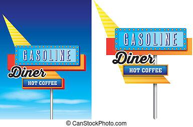 disponible, estilo, 1950s, motel, aislado, plano de fondo, norteamericano, vector, publicidad, zona lateral de camino, blanco