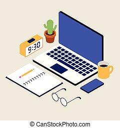 disposición, isométrico, diseño, estilo, plano, escritorio, artículos de escritorio, empresa / negocio, espacio de trabajo