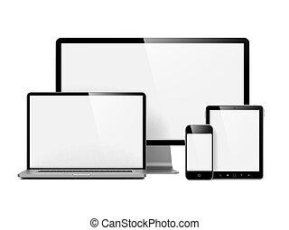 Dispositivos electrónicos modernos aislados en blanco.