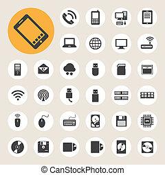 Dispositivos móviles, computadoras y conexiones de red, iconos fijados.
