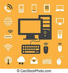 Dispositivos móviles, computadoras y conexiones de red, iconos fijados. Ilustración