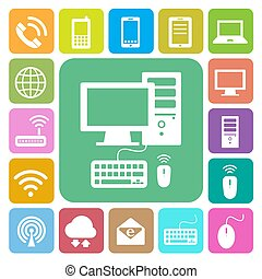 Dispositivos móviles, ordenador y conexiones de red. Ilustración