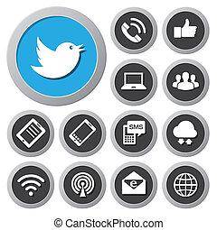Dispositivos móviles y iconos de red preparados.