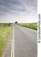 distancia, camino abierto, coche
