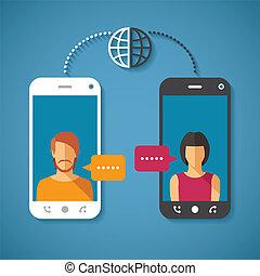 distancia, concepto, comunicación, global, largo, vector, mundo