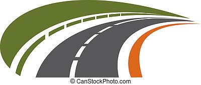 distancia, curvar, tarred, camino, retroceder